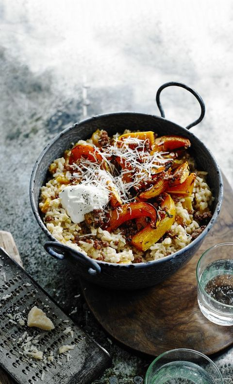 Italian sausage and squash risotto