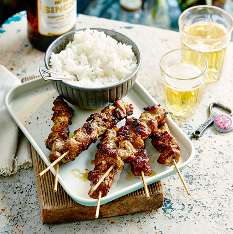 Moo ping pork skewers