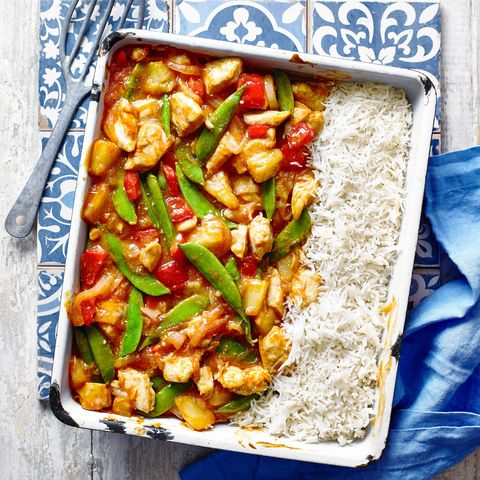 best traybake recipes sweet and sour chicken with rice traybake