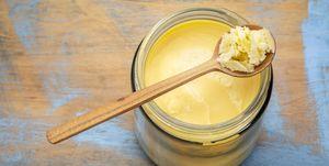 ghee in jar and spoon