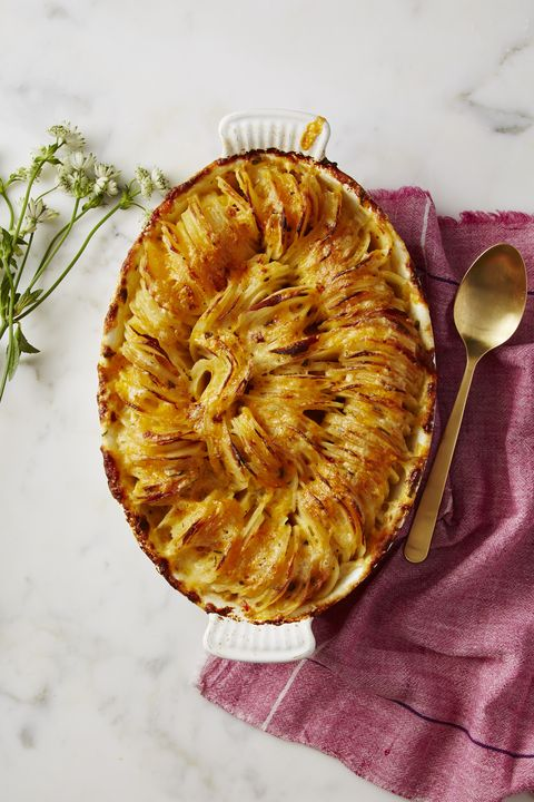 Scalloped Hasselback Potatoes with Cheddar