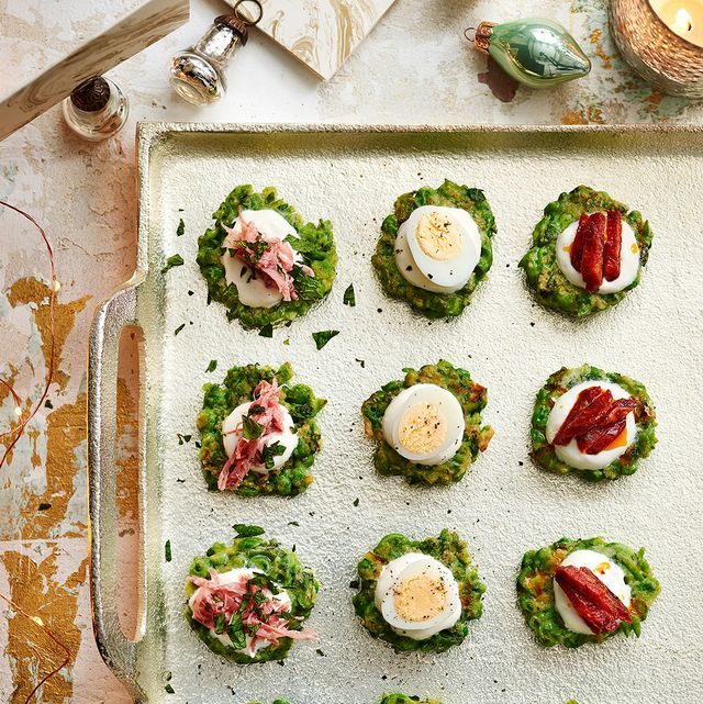 best canape recipes pea and mint cakes