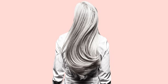 woman with gray hair from behind