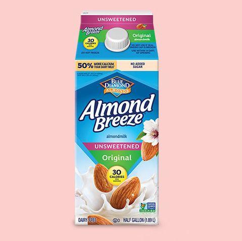 half gallon of almond breeze unsweetened original almondmilk and jar of primal kitchen organic ketchup
