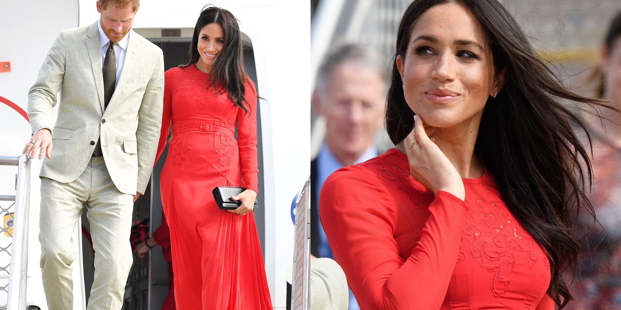 7a044992b1027 The Duchess of Sussex stuns in statement red dress as she arrives in Tonga