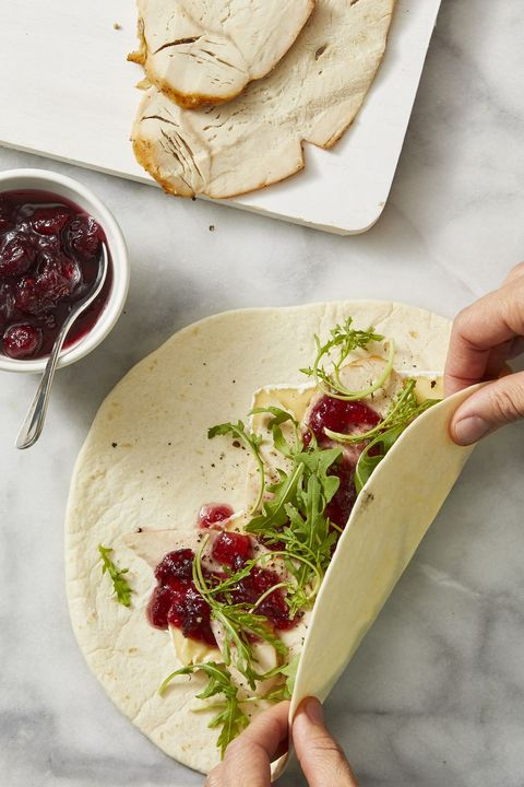 leftover turkey sandwich ideas — turkey, cranberry, and brie wraps