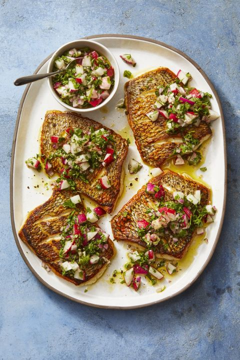 feast of seven fishes recipes -Striped Bass with Radish Salsa Verde