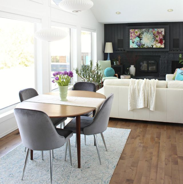 home interior, multipurpose room with fireplace, after makeover