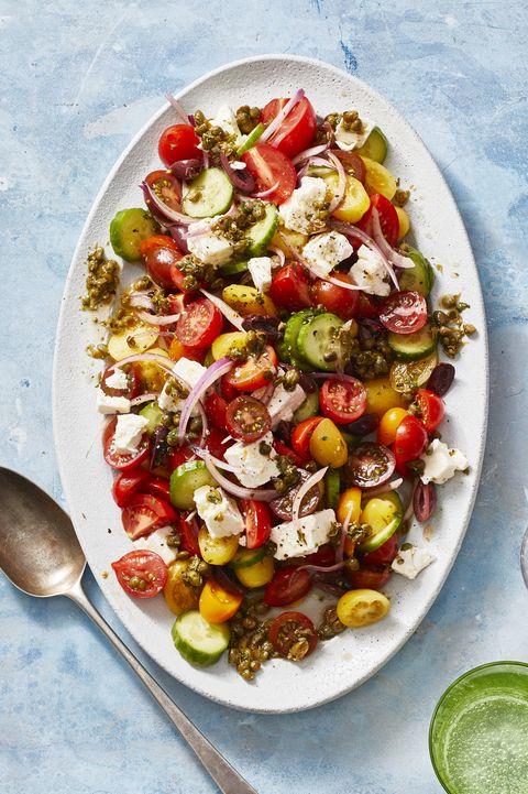 healthy salads   greek salad with caper vinaigrette