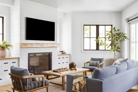 manhattan beach, ca, property, modern farmhouse style, living room photo by amy bartlam design by kate lester interiors
