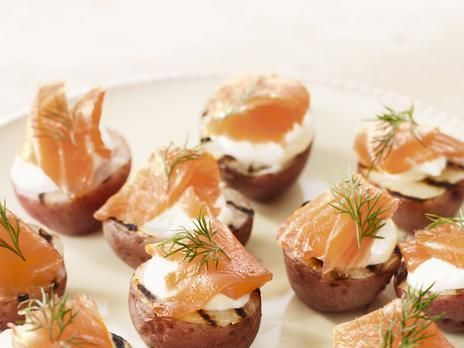 Potato Halves with Smoked Salmon & Dill