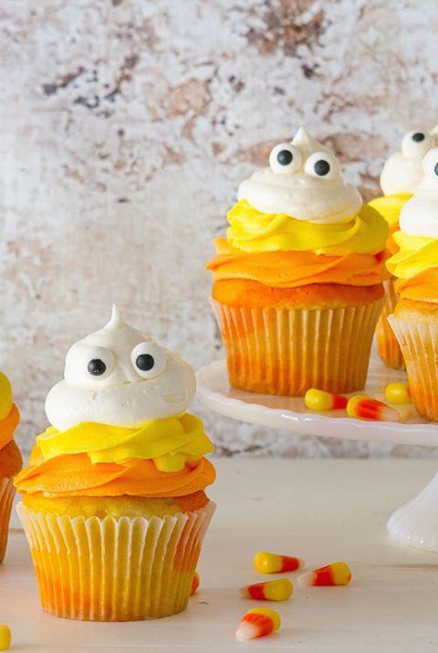 Candy Corn Ghost Halloween Cupcake