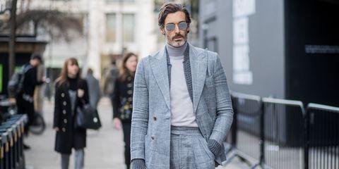 Street fashion, Suit, Fashion, Clothing, Eyewear, Blazer, Outerwear, White-collar worker, Glasses, Human,