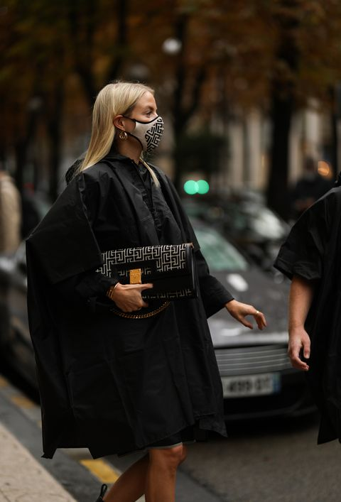 paris, france   october 06 leonie hanne seen wearing a complete balmain look during paris fashion week   womenswear spring summer 2021  day nine on october 06, 2020 in paris, france photo by jeremy moellergetty images