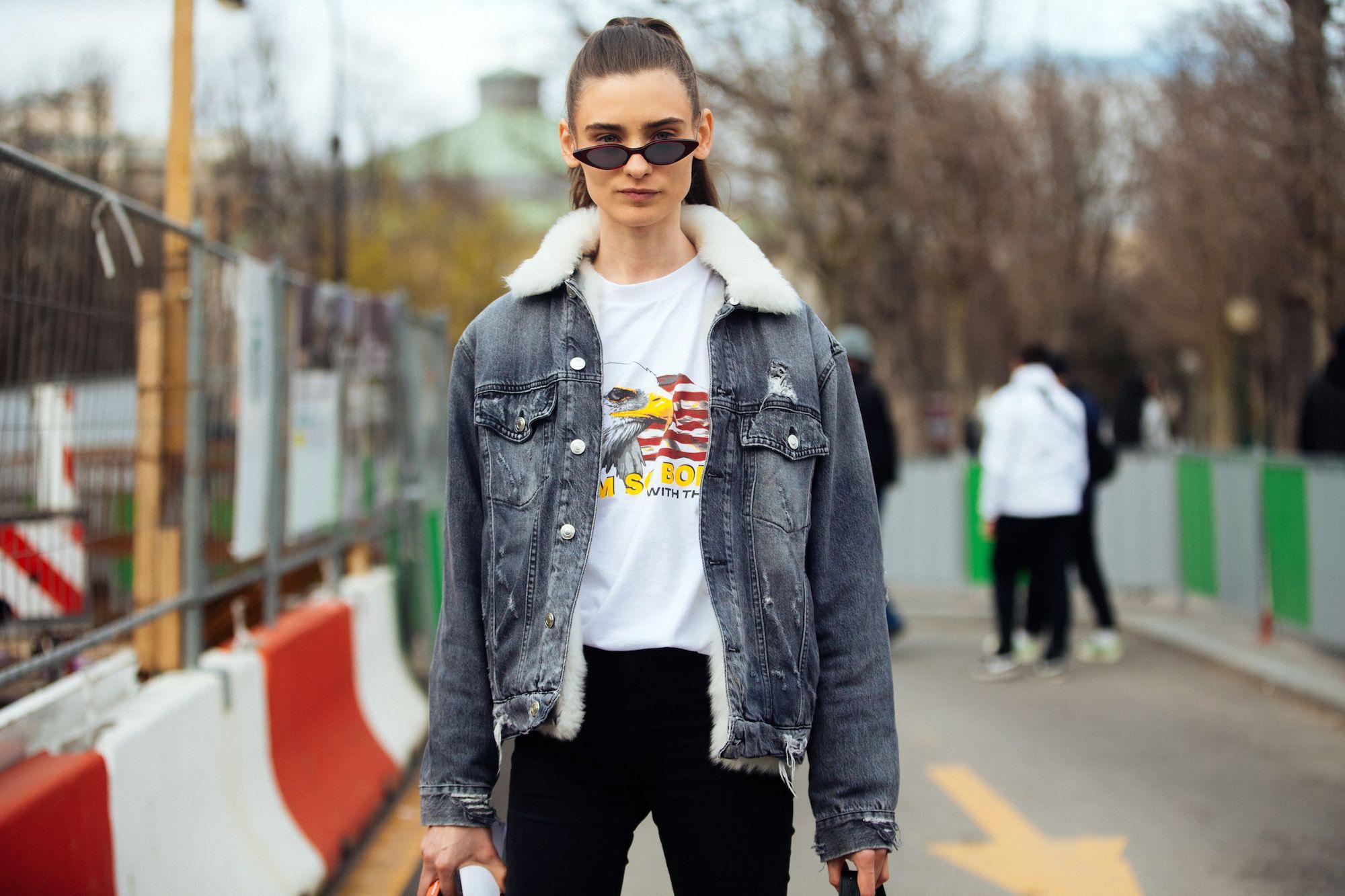 giacca jeans pelo e felpa