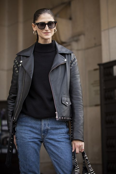 Leather, Clothing, Jacket, Leather jacket, Fashion, Eyewear, Jeans, Fashion model, Street fashion, Outerwear,