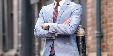 Suit, Clothing, Street fashion, Blazer, Dress shirt, Formal wear, Plaid, Outerwear, Tie, Fashion,