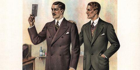 Suit, Formal wear, Tuxedo, White-collar worker, Style, Gesture, Illustration, Art,