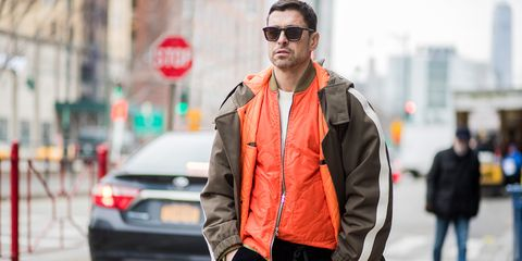 Street fashion, Clothing, Jacket, Fashion, Eyewear, Outerwear, Orange, Sunglasses, Snapshot, Cool,