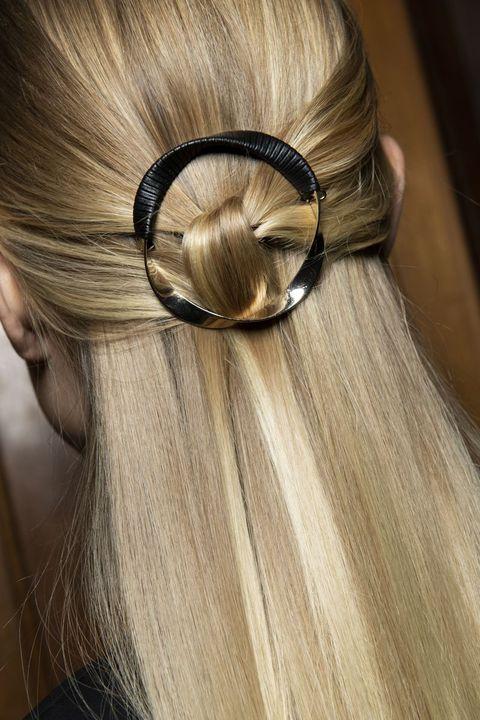 Hair, Hairstyle, Hair coloring, Long hair, Blond, Ear, Hair accessory, Brown hair, Layered hair, Chignon,