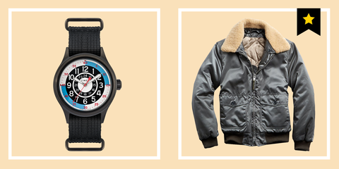 Clothing, Jacket, Outerwear, Watch, Fashion, Brand, Leather, Textile, Sleeve, Fashion accessory,