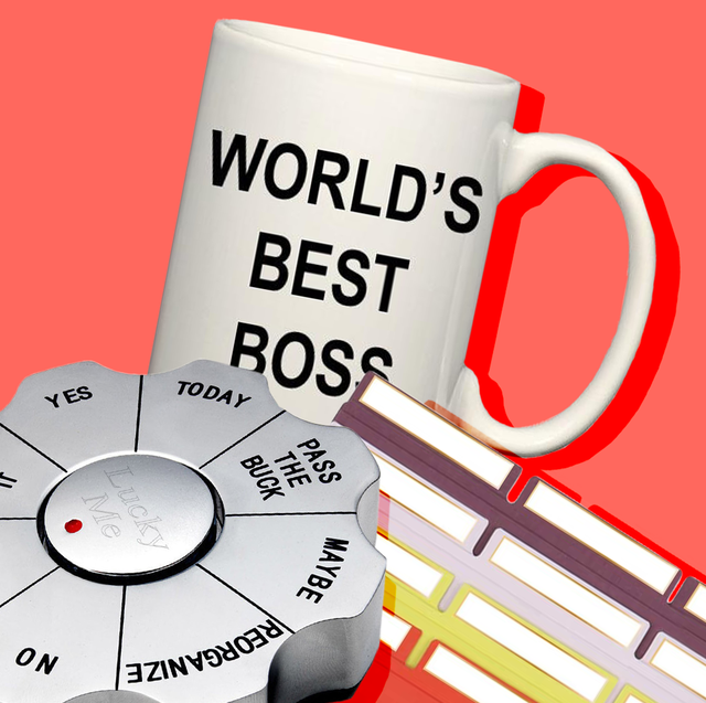 boss mug, paperweight, file folders, desk light
