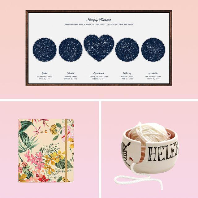 custom map of stars, our place always pan, abuela mug, glasses, what i love about grandma book, custom yarn bowl, travel planner