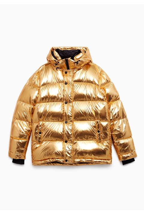 Clothing, Jacket, Outerwear, Sleeve, Yellow, Hood, Beige, Zipper, Leather jacket, Top,