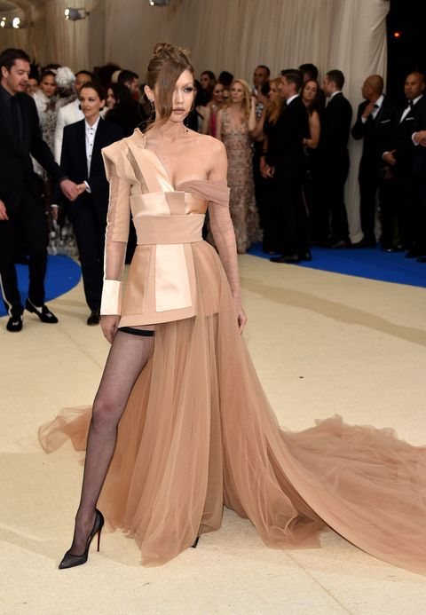 Gigi Hadid Walks the 2017 Met Gala Red Carpet in Tommy Hilfiger Dress