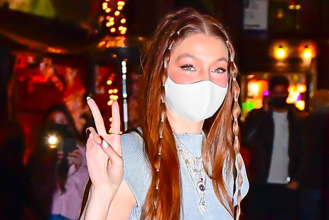 new york, ny   april 23  gigi hadid is seen at her birthday party in noho on april 23, 2021 in new york city photo by raymond hallgc images
