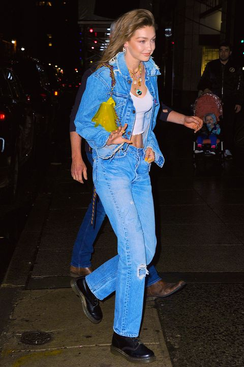 Image result for Gigi Hadid makes denim a new cool theme for her 24th birthday party