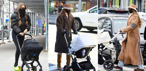gigi hadid wandelt regelmatig met haar dochtertje mint door new york bekijk hier haar verschillende outfits