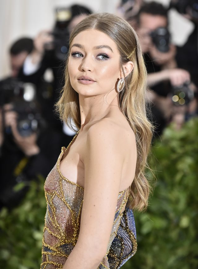 gigi hadid red hair, new york, ny   may 07  gigi hadid attends the heavenly bodies fashion  the catholic imagination costume institute gala at the metropolitan museum of art on may 7, 2018 in new york city  photo by frazer harrisonfilmmagic