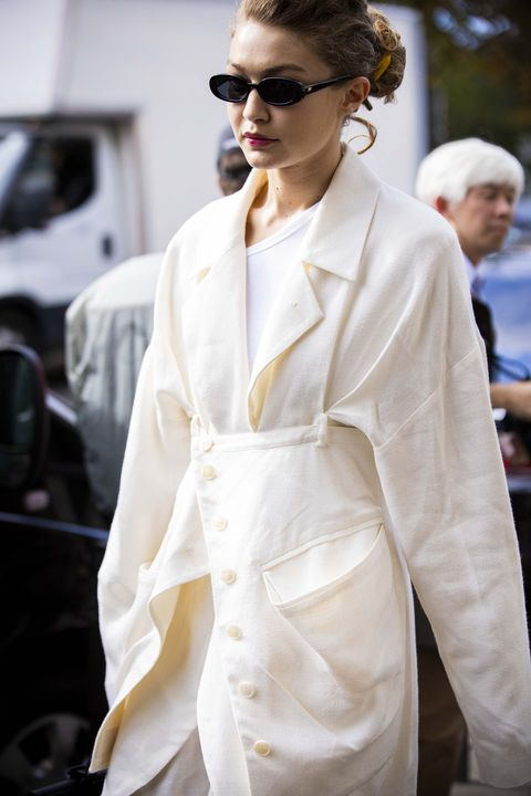 paris, france   october 01 gigi hadid, wearing a cream blazer, is seen outside the miu miu show during paris fashion week   womenswear spring summer 2020 on october 01, 2019 in paris, france photo by claudio laveniagetty images