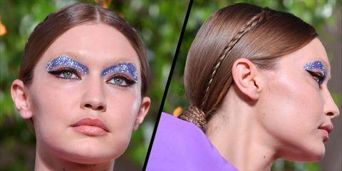 gigi hadid valentino couture glitter makeup