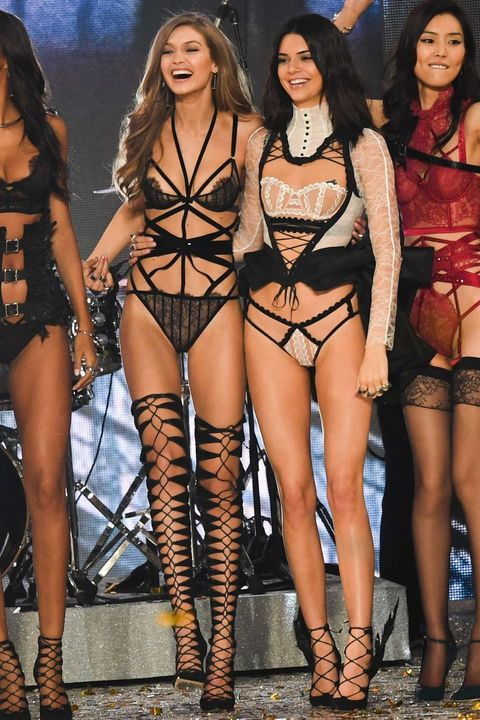 Gigi Hadid and Kendall Jenner on the Victoria s Secret show catwalk 24841f875