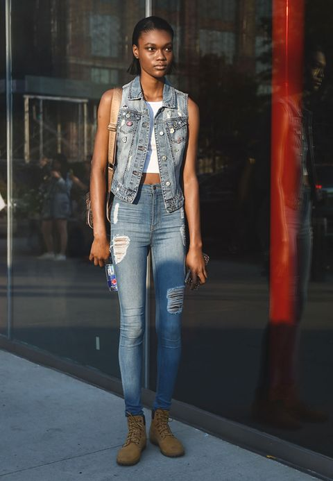 Gilet jeans street style
