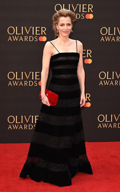 Gillian Anderson seen on the red carpet during The Olivier...