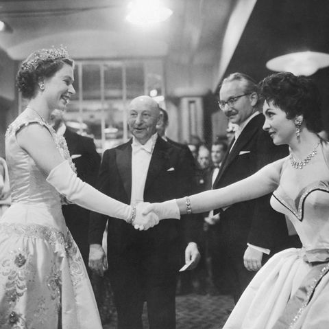gina lollobrigida shaking hands with queen elizabeth