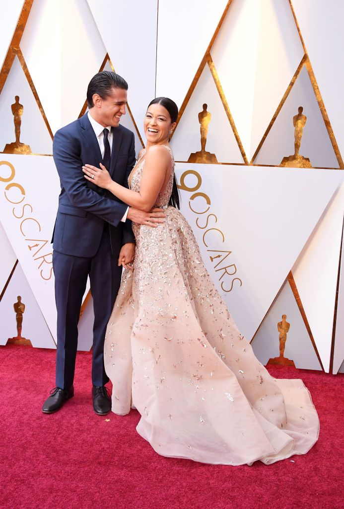 Gina Rodriguez and Joe LoCicero at the 2018 Oscars