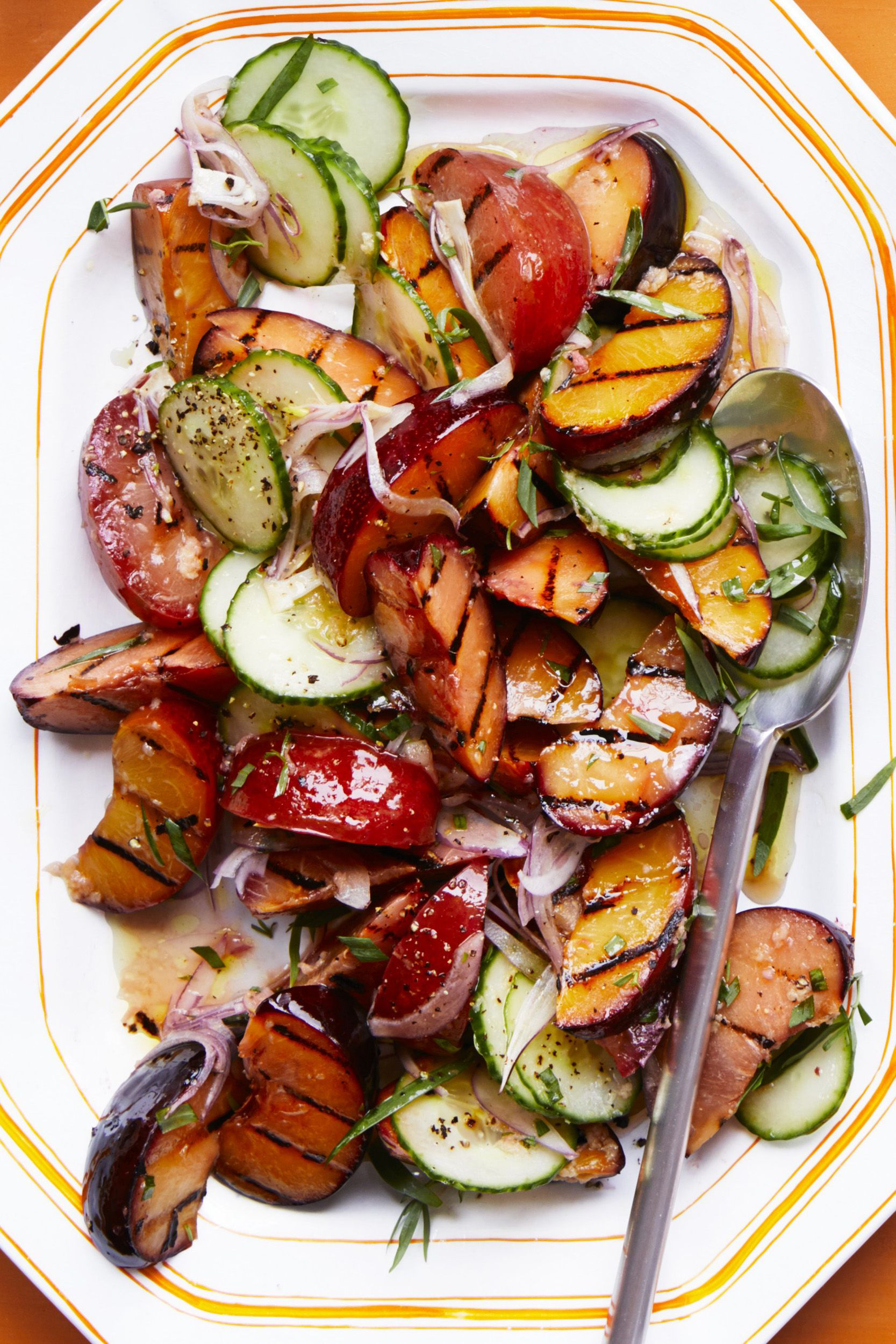 Gingery Grilled Stone Fruit and Cucumber Salad