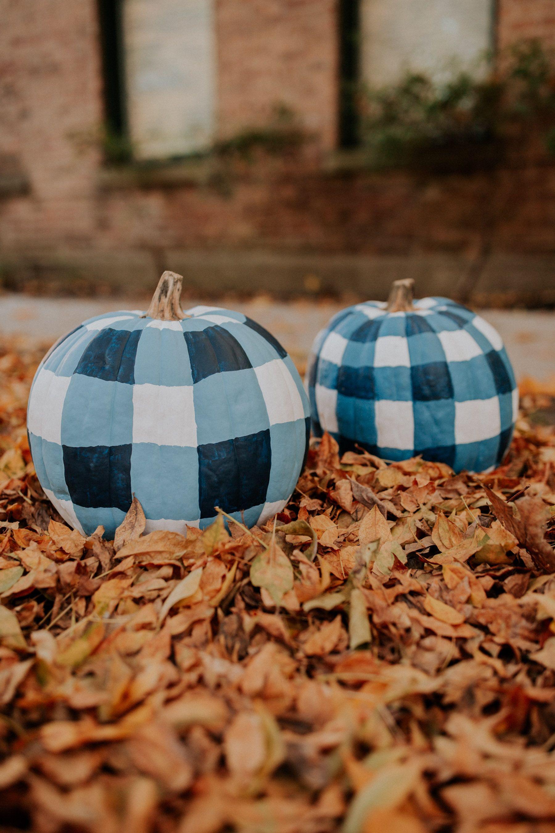 gingham painted pumpkins