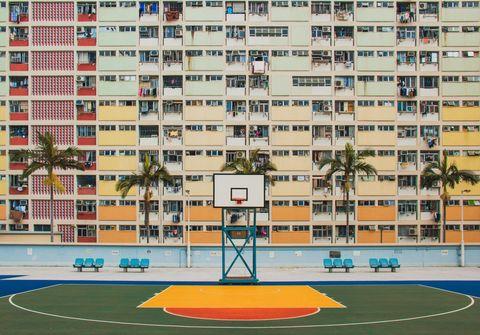 Sport venue, Condominium, Building, Human settlement, Residential area, Architecture, Neighbourhood, Apartment, Urban area, Basketball court,