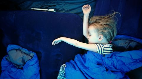 girl 4 5 asleep in a sleeping bag in a tent