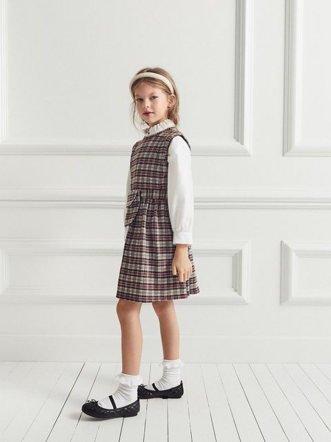 Clothing, Plaid, White, Tartan, Pattern, Child, Standing, Fashion, Design, Footwear,