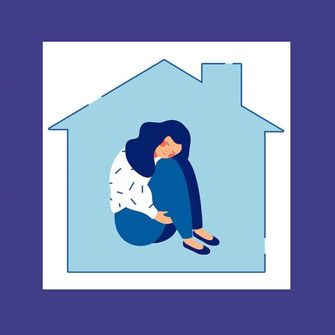 woman feeling anxious at home