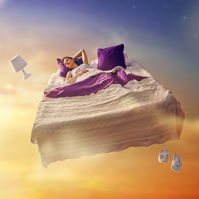 girl is flying in her bed