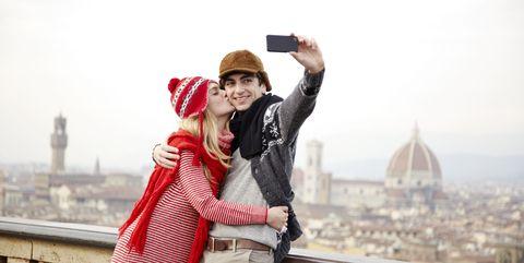 girl kissing boy, self portrait, viewpoint