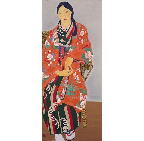 玉城末一  籐椅子によれる少女  京都市京セラ美術館