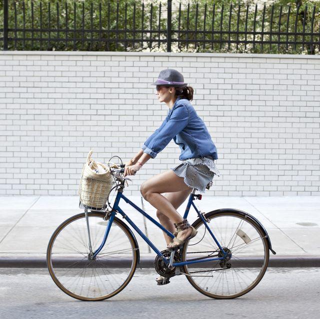 girl on bike in new york city